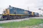 CSX 5222 & 309 backing into siding to couple train
